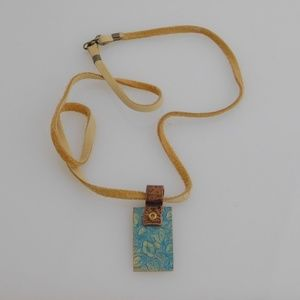 Jewelry - Turquoise Blue, Embossed, Copper and Brass Pendant